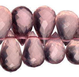 Rose Quartz Gemstone Briollette Beads