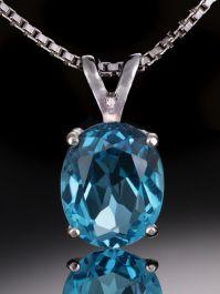 16x12mm Oval Cut Blue Topaz Necklace