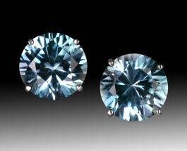 6mm Blue Zircon Earrings