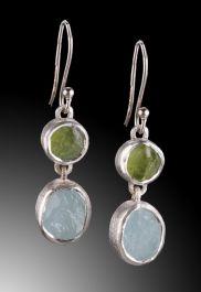 Aquamarine & Peridot Raw Dangle Earrings