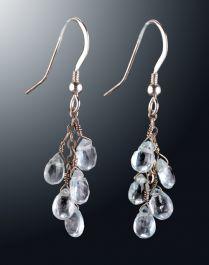 Aquamarine Faceted Teardrop Earrings