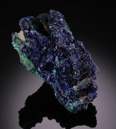 Azurite on Malachite