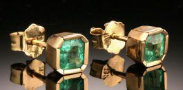 5mm Emerald Studs In 18K Gold