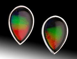 (2) Ammolite Teardrop Stud Earrings
