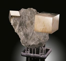 "4"" Pyrite Cube in Matrix (with stand)"