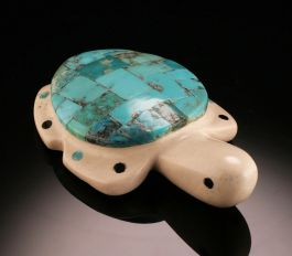 """Fish Rock"" and Turquoise Zuni Turtle"