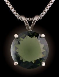 12mm round Facetted  Moldavite Pendant