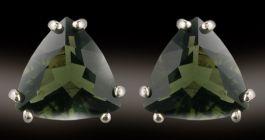 Facetted Triangular Moldavite Earrings