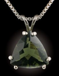 Facetted Triangular Moldavite Pendant