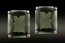 8x6mm Facetted Moldavite Earrings