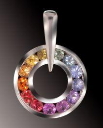 Stunning Rainbow Sapphire Pendant, 14k White Gold