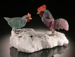 Two Roosters Gemstone Carving