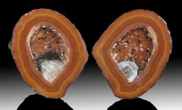 Cut Geode Pair w/ Hematite Crystal from Beipo Mine, China