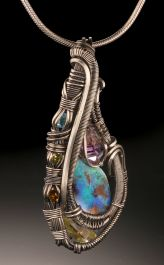 Boulder Opal Multi-Stone Wire Wrap (with chain)