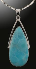 Larimar Teardrop Pendant (with chain)