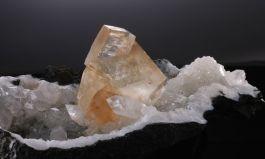 Calcite Crystal on Apophyllite and Quartz