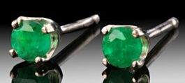 3mm Emerald Stud Earrings