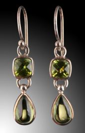 Double Stone Drop Earrings in Peridot