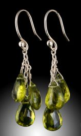 3 Stone Peridot Briolette Earrings