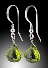 Peridot Drop Earrings in Silver