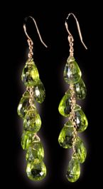 Peridot Briolette Earrings in 14k