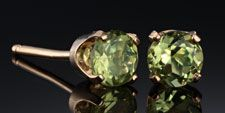 Peridot Stud Earrings in 14k