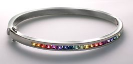 Rainbow Sapphire Bangle Bracelet