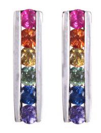 Rainbow Sapphire Channel Earrings