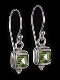 6mm Square Cut Peridot Earrings