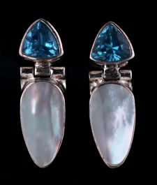 7mm Blue Topaz with Mother of Pearl Posts