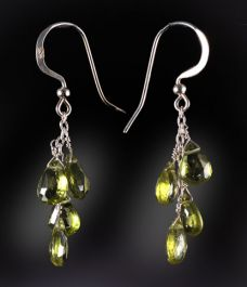 4 Stone Peridot Briolette Earrings