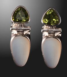 Peridot with Mother of Pearl Earrings