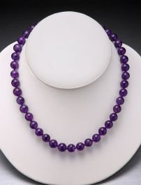 Amethyst Bead Necklace-10mm