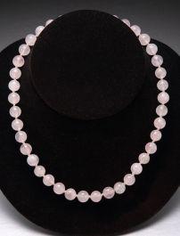 Rose Quartz Bead Necklace-10mm