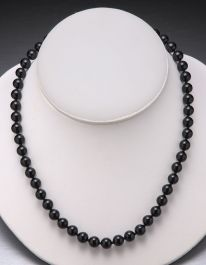 Black Onyx Bead Necklace-8mm
