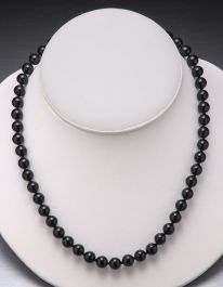 Black Onyx Bead Necklace-10mm