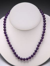 Amethyst Bead Necklace-8mm