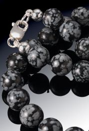 Snowflake Obsidian Bead Necklace-8mm