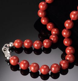 Red jasper Bead Necklace-10mm