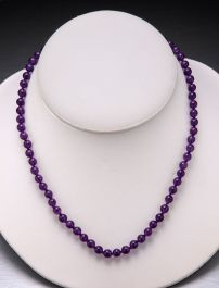 Amethyst Bead Necklace-6mm