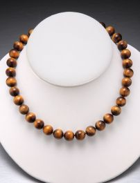Tiger Eye Bead Necklace-10mm