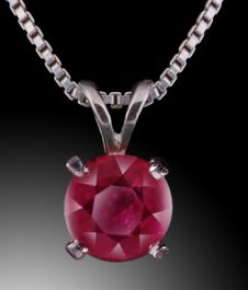 3mm Ruby Pendant (with chain)