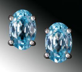 6 x 4mm /  Natural Blue Zircon Earrings