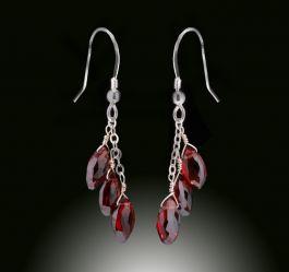 3 Drop Garnet Earrings