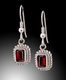 Rectangular Cut Garnet Earrings