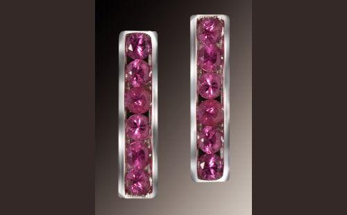 Channel Set Pink Sapphire Earrings